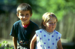 Children at Mestia villageNikon F5, 180mm, Fuji Velvia 100