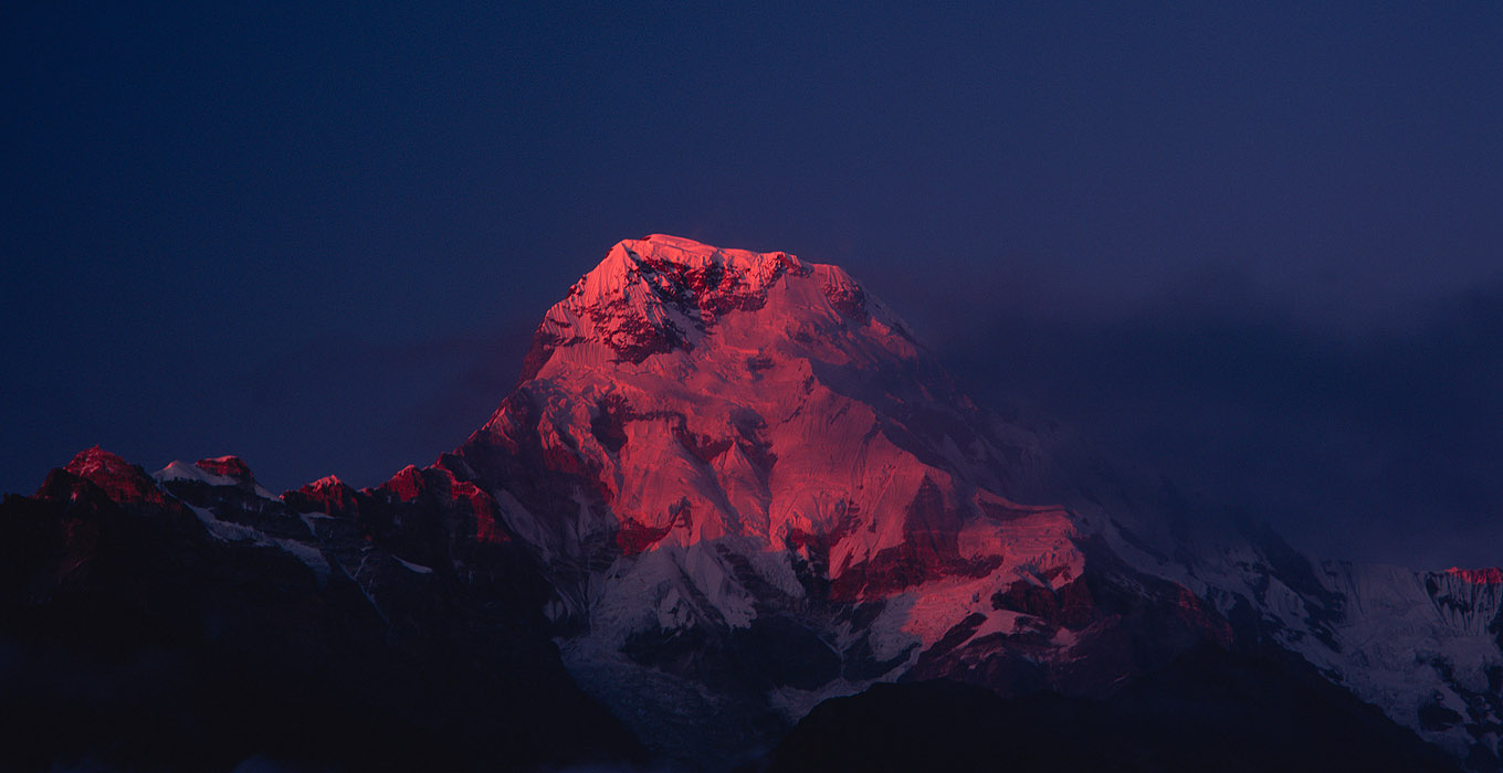 Annapurna South - At sunset, from Tadapani
