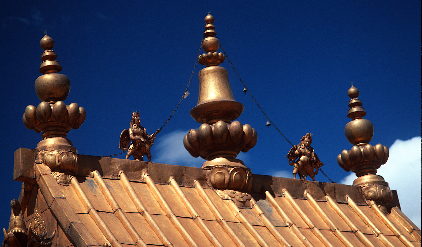 Detail of the gilded roofs in this enormous monastic complex in ShigatseBronica ETRSi, 150mm, Fuji Velvia