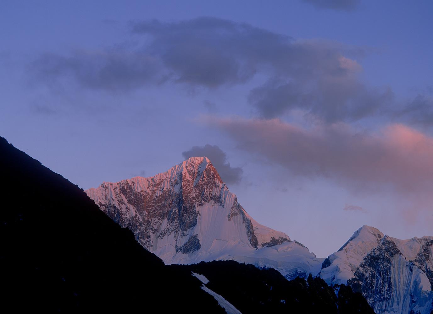 Telephoto from above Ishkarwarz at dusk in the upper Yarkhun Valley, ChitralBronica ETRSi, Vuji Velvia