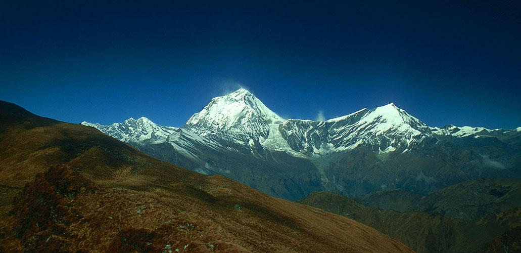 Seen across the Kali Gandaki valley from Thulobugin Pass (4300m).Nikon FM2, 24mm, Fuji Velvia