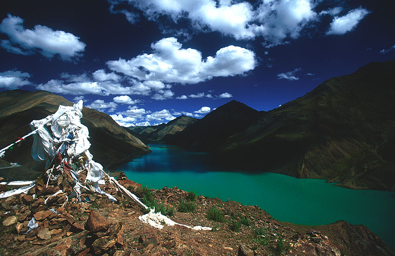 This stunning turquoise lake is held back by a recent hyrdo-electricity projectNikon F5, 17-35mm, Fuji Velvia 100