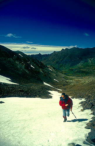 Dr Natalie Hawkrigg ascending the snow-slopes leading to the summit ridgeNikon FM2, 24mm, Fuji Velvia