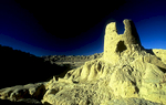 A defensive tower in the Sutlej valley near the ruined city of Tsaparang, Western Tibet.Nikon FM2, 17-35mm, Fuji Velvia 100