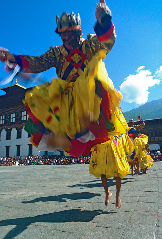 Dancers at the annual tsechuNikon FM2, 24mm, Fuji Velvia