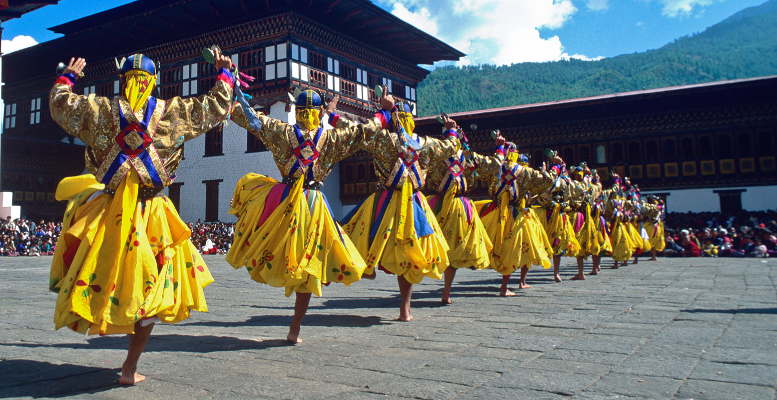Dancers at the annual tsechuNikon FM2, 24mm, Fuji Velvia