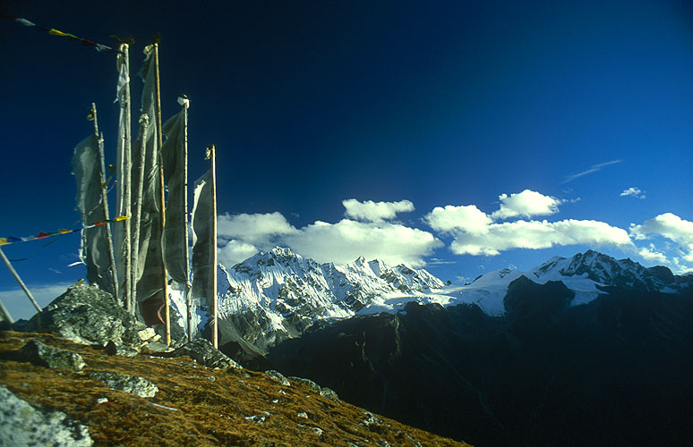 A view across the Langtang valley to Pongen Dokphu (5930m), the Ganja La and Nya Kanga (5846m)Nikon FM2, 24mm, Fuji Velvia