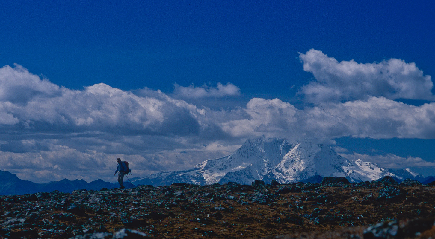 Looking back west to Tsheri Kang anf Jitchu Drake from the crest of this pass, which is crossed on the way up from Roduphu camp to Narethang - the high camp below the Kanglakarchung (Karakachu) La.Nikon FM2, 28mm, Fuji Velvia