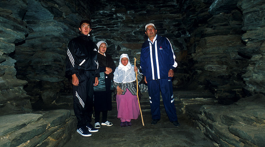 A Kyrghyz family visiting Tash Rabat, an ancient caravanserai in the Tien Shan at which Marco Polo almost certainly stayed.Nikon FM2, 24mm, Fuji Velvia