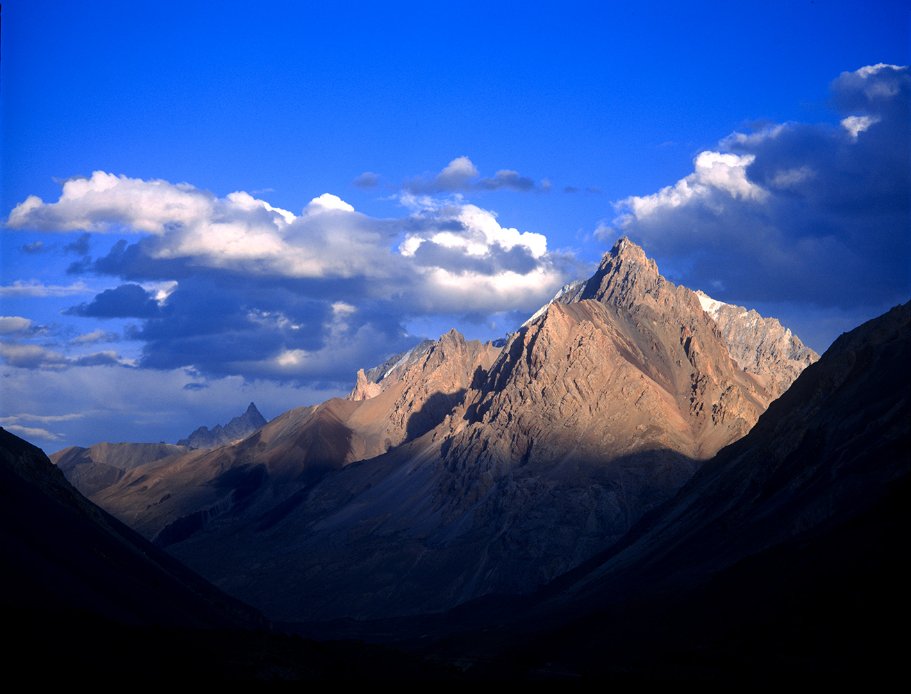 Afternoon light from Baba Ghundi Ziarat, an Ishmaili shrine in the upper Chapursan valley.Bronica ETRSi, Fuji Velvia