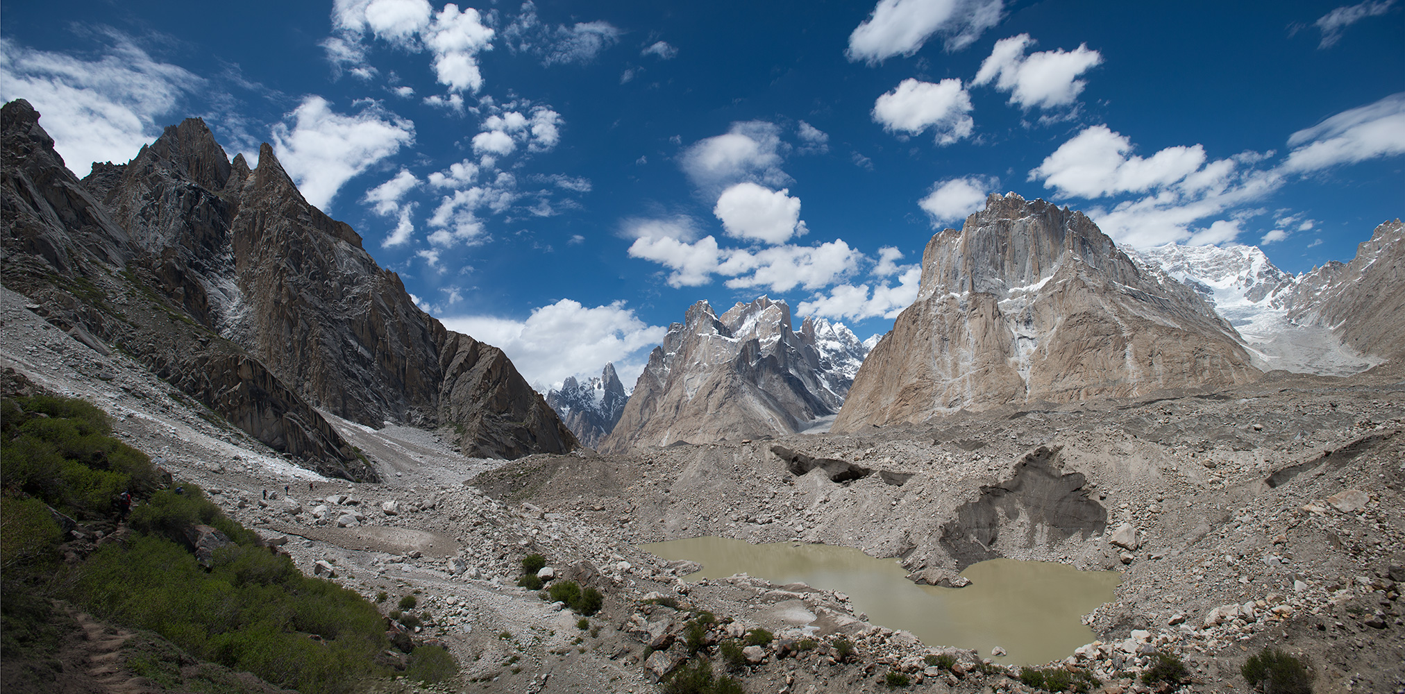 Setting off down valley from Urdokas with, from the left, Uli Biaho, the Trango Towers, Cathedral Spire, the Biale Glacier and Biale Peak (6841m)