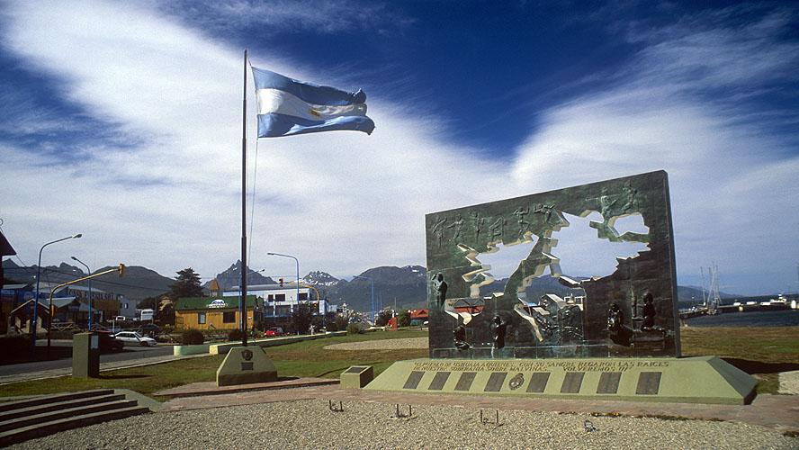 A memorial to the men of Ushuaia who fell during the sad fiasco that was Margaret Thatcher's Falklands campaignNikon FM2, 24mm, Fuji Velvia