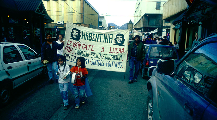 Following the November 2001 financial implosion in Argentina, street protests such as this were common as people expressed their fury that banks were closed and their savings drastically devalued over nightNikon FM2, 24mm, Fuji Velvia