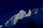 From the centre of the Baltoro glacier on the way to Gasherbrum 1 basecamp from Concordia