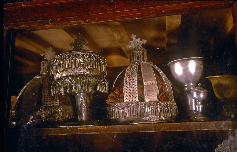In a dusty old cabinet in the museum at Yeha I spotted these old silver church jewelsNikon F5, 17-35mm, Fuji Velvia 100
