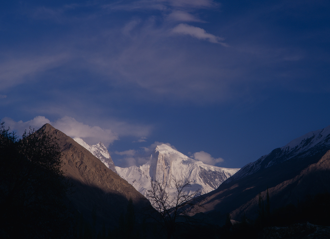 The golden pillar of Spantik, seen from the village of Nagar