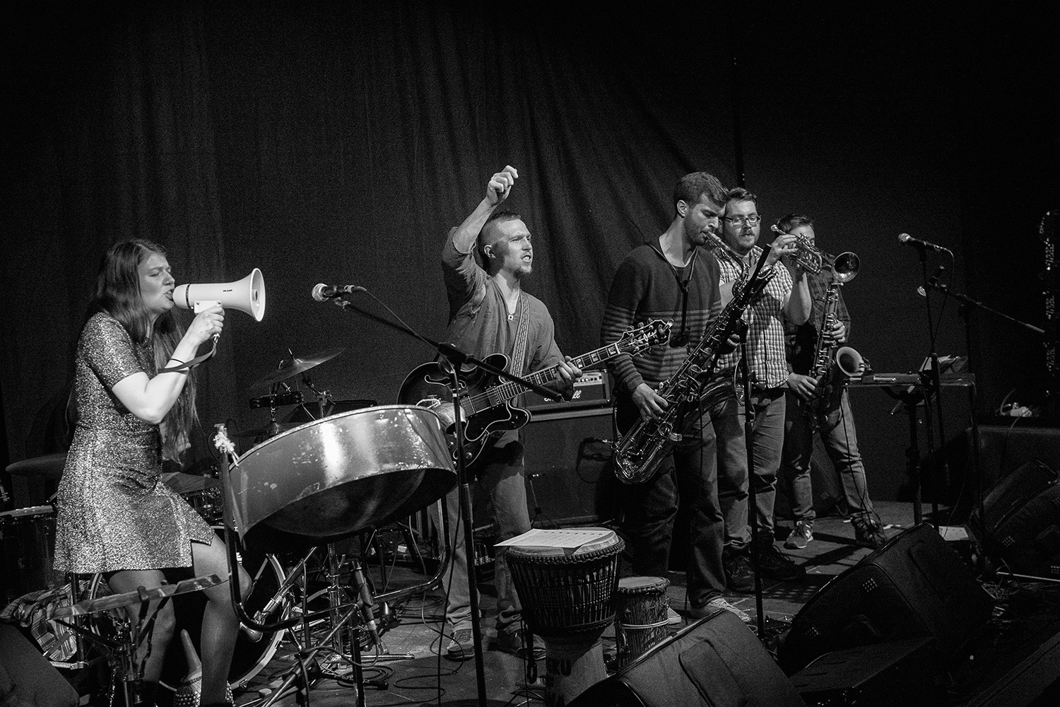28th April 2017Ponyland hail from from across Cumbria and Newcastle, and play samba reggae, drum 'n' bass, afro-beat & jazz. Here they are supporting KOG & The Zongo Brigade
