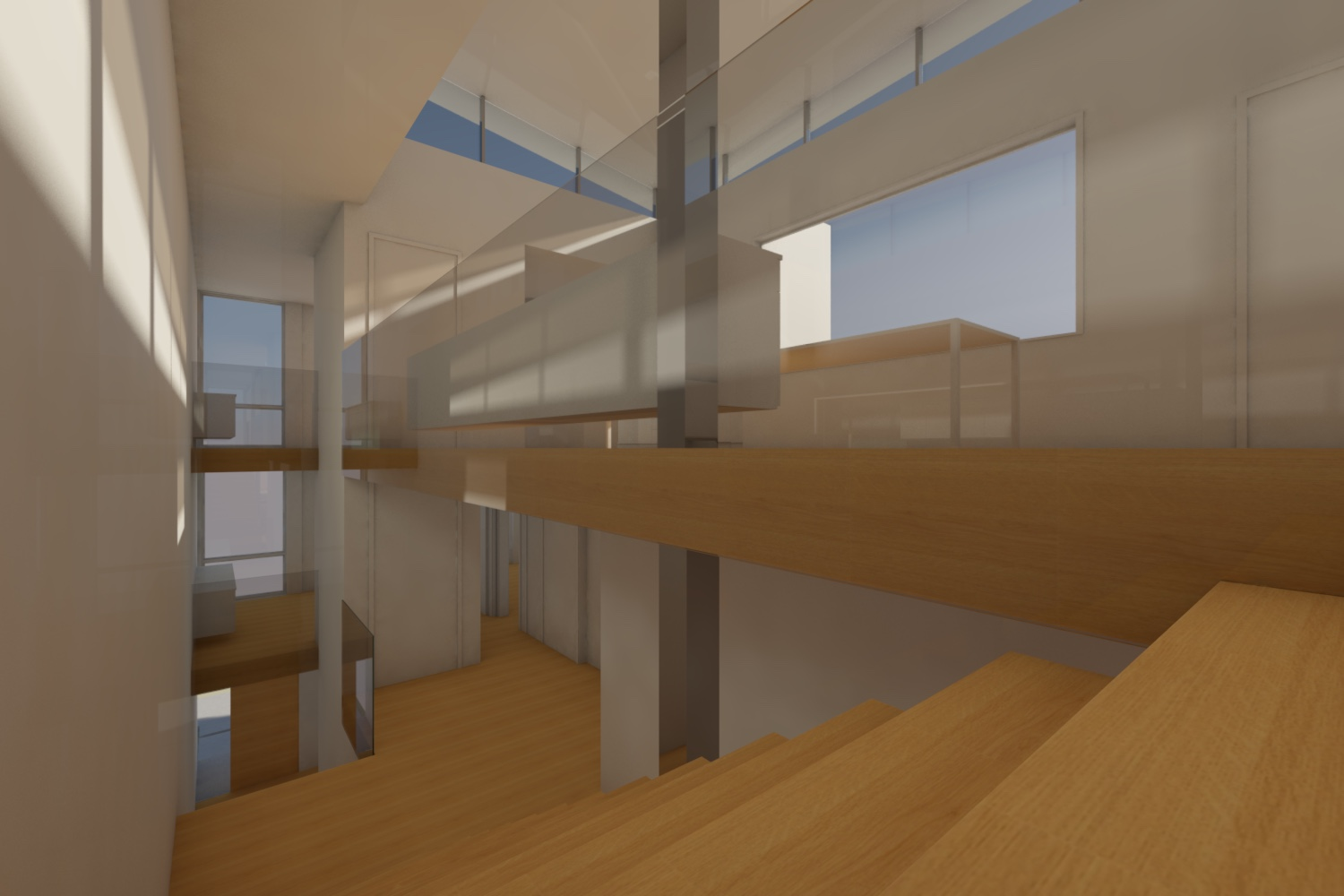 A two-unit townhouse in the Marina District of San Francisco. The program called for prioritizing opennes and natural light. The top floor is an open plan accomodating the social spaces. A clerestory allows natural light to flood the center of the space.
