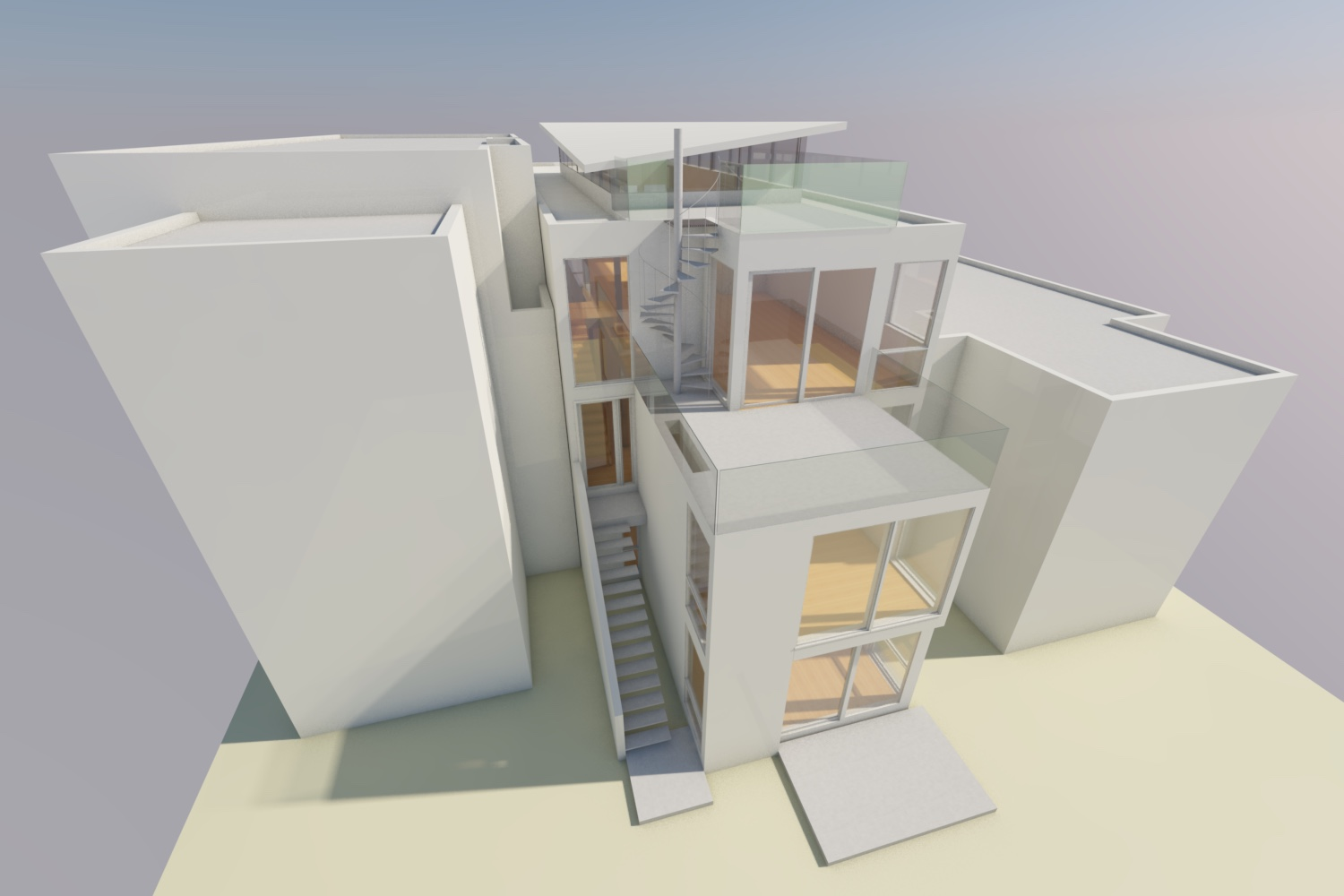 The master bedroom is below the terrace, away from the street and with views and access to the garden.