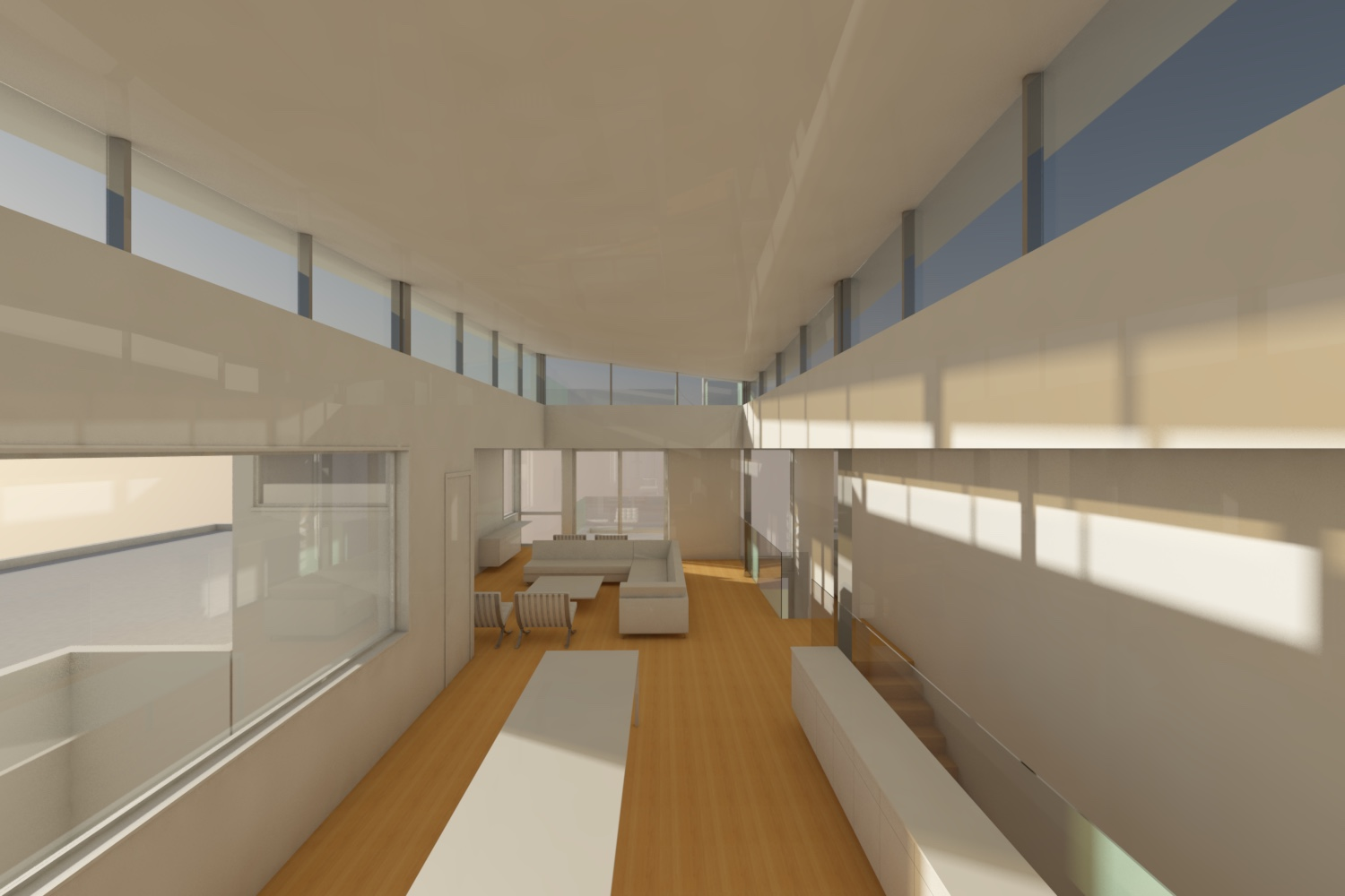 The clerestory allows light to flood the interior of an otherwise confined space.