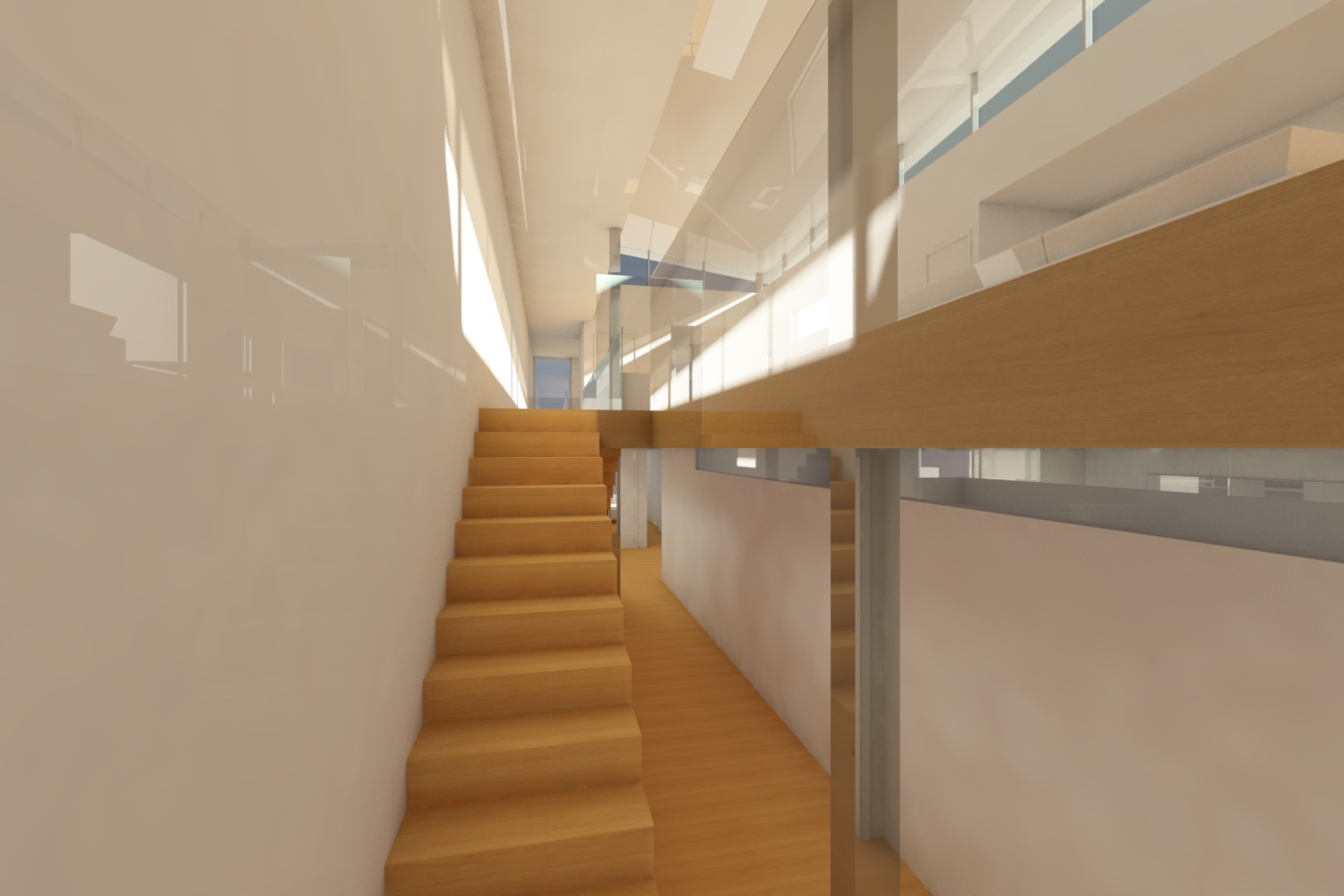 The stairwell is also a lightwell allowing reflected light to illuminate the second floor corridor and adjacent spaces.