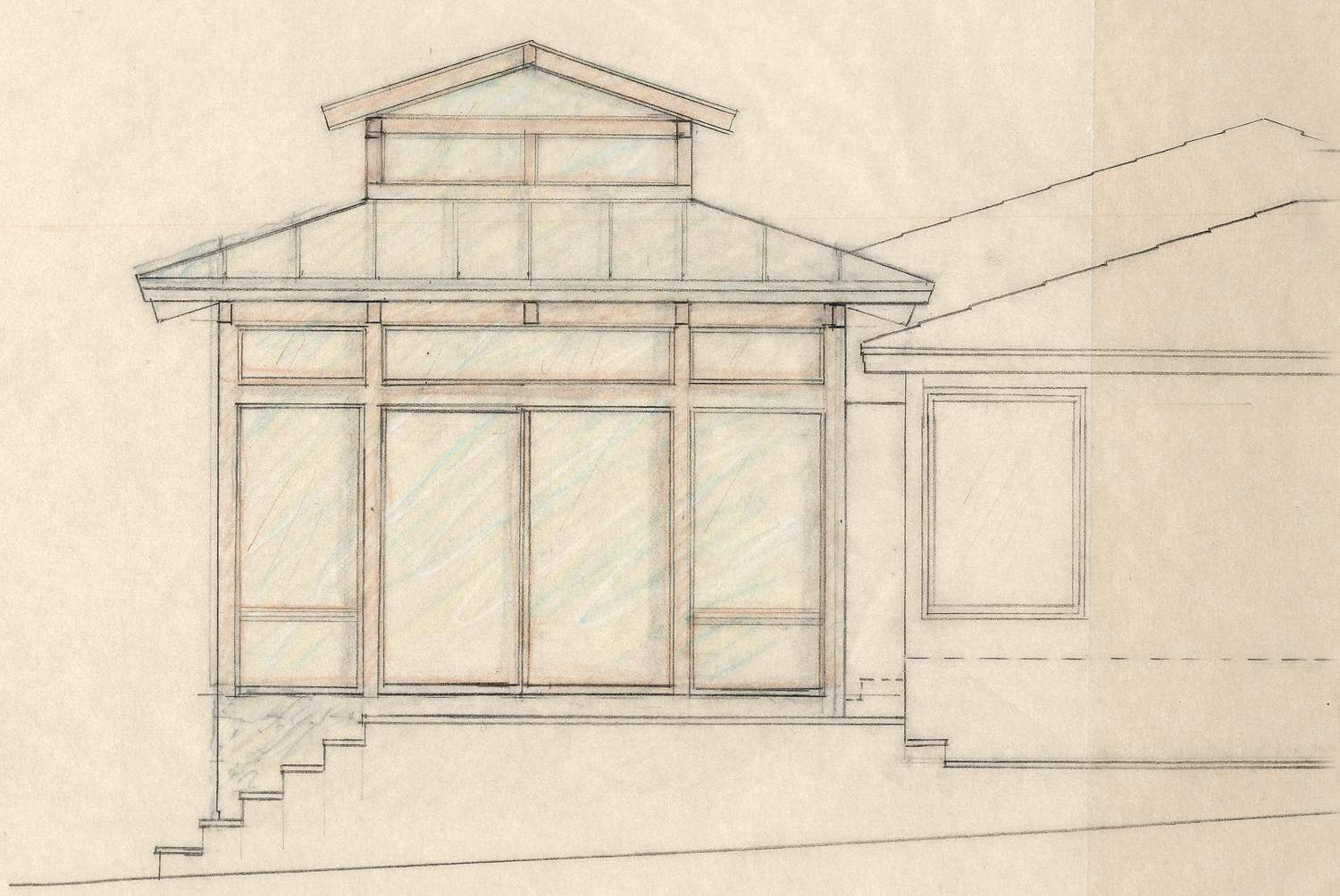 Color pencil drawings were used to study material and window options.