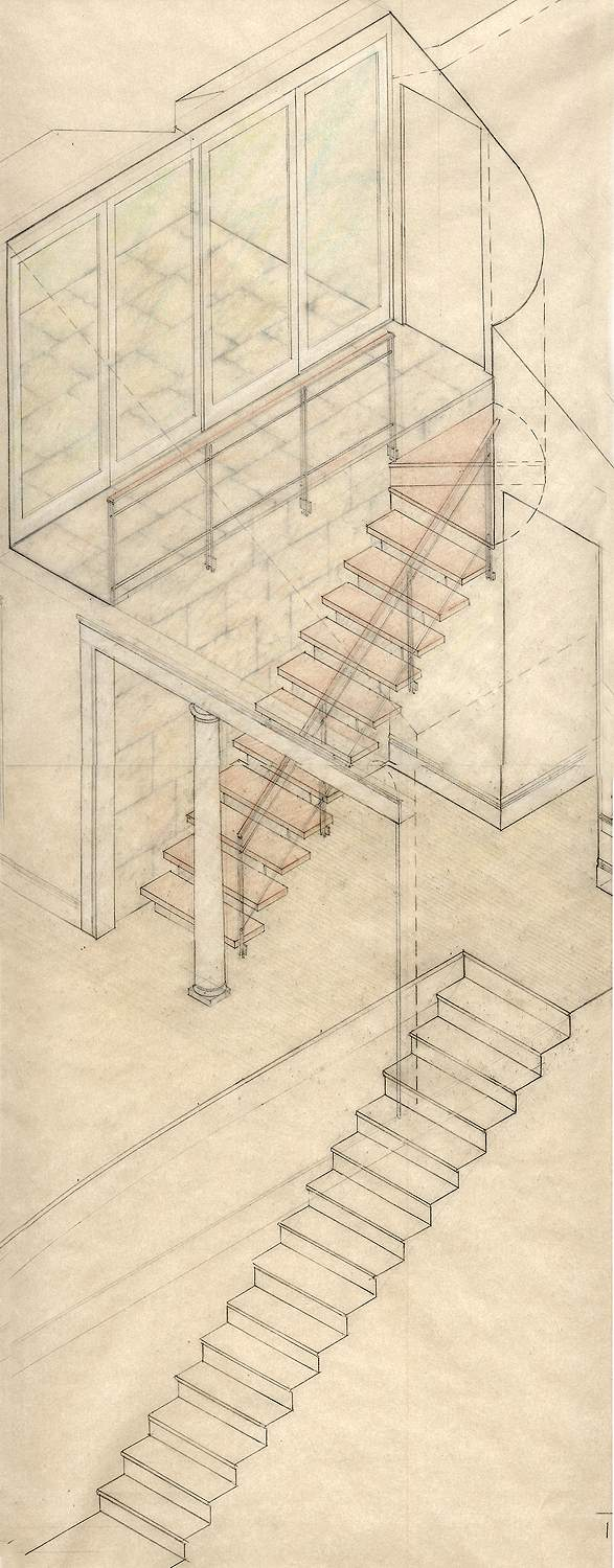 An early study drawing of the sequence of stairs and spaces leading up to the roof terrace.