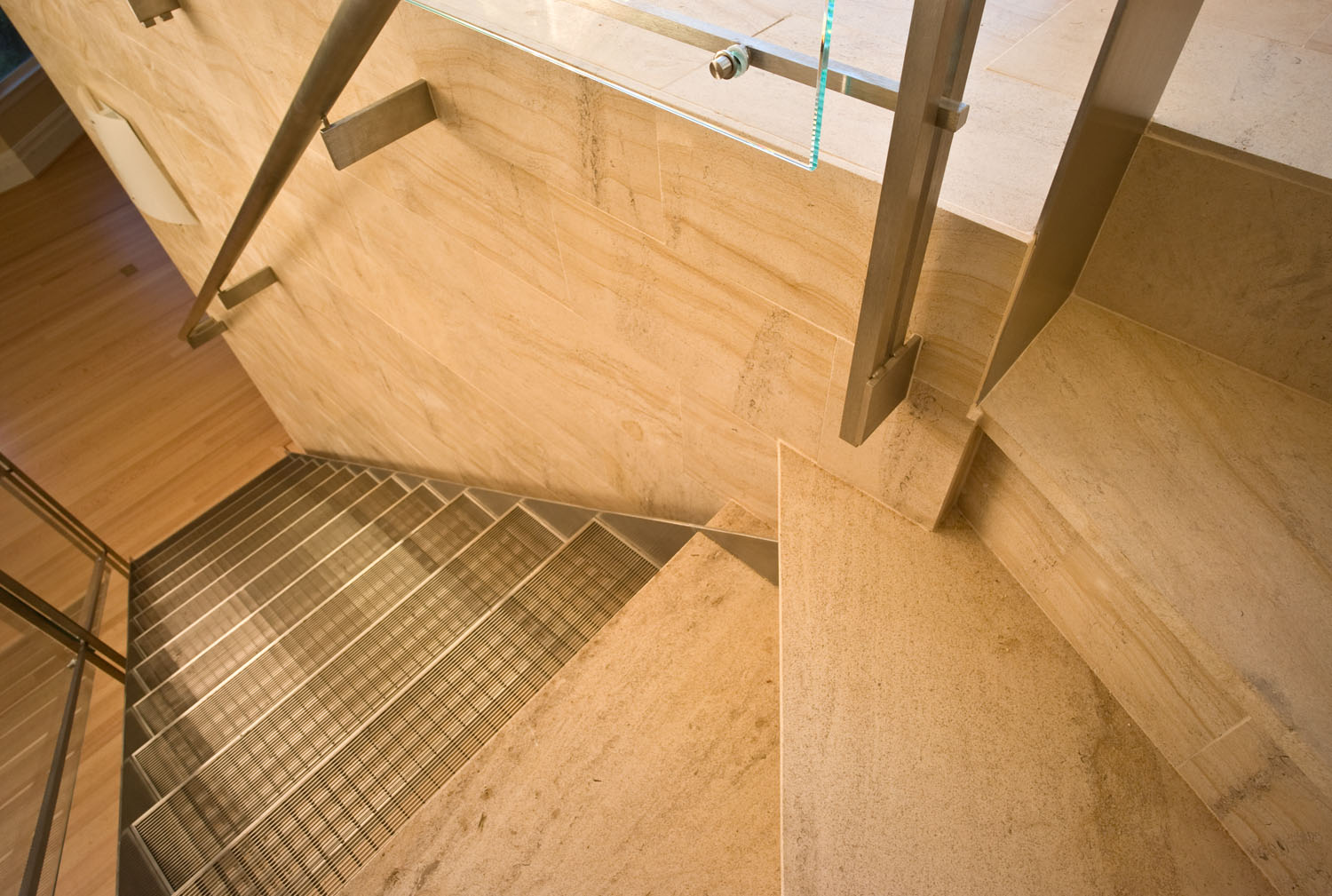 Limestone winder and steel stair