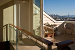 The terrace commands a view of downtown San Francisco and the Bay.General contractors: Chris Hawley and Jim Chace. Engineer: Sarah Leong and Bill Harrison