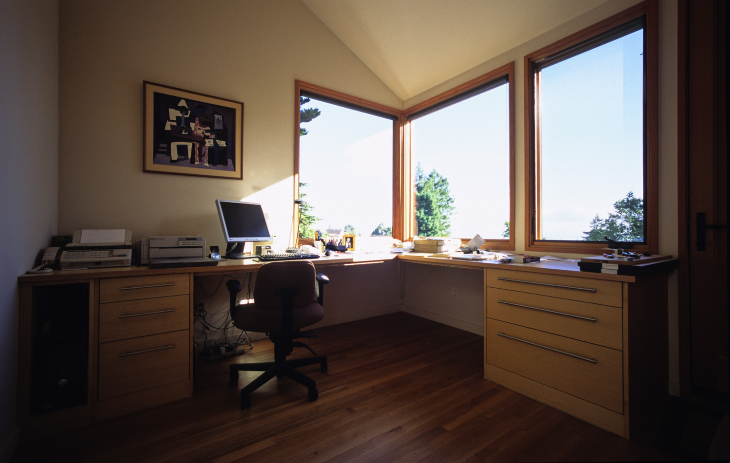 The study's corner window looks out to San Francisco and the bay.