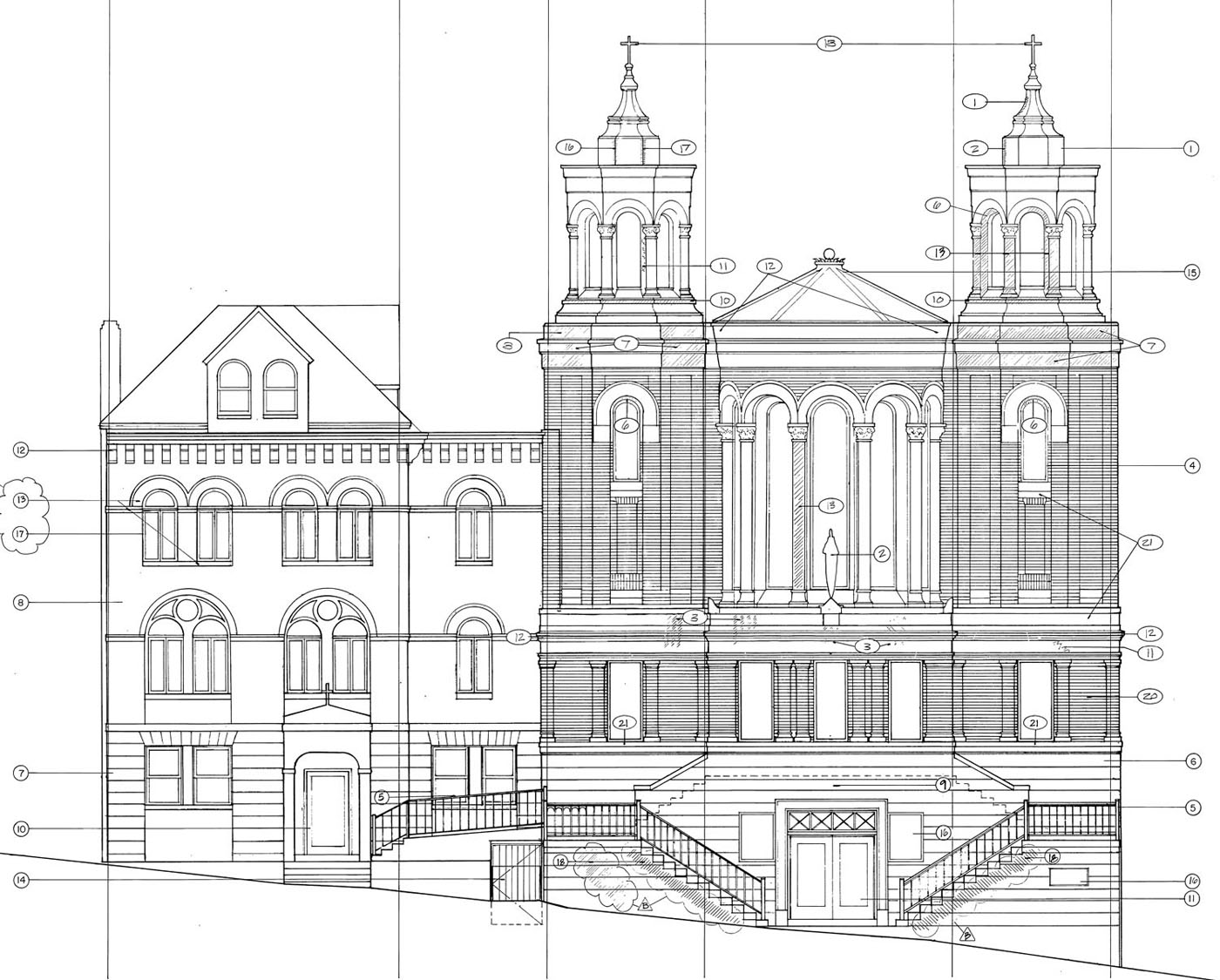 Architectural elevation drawing for Architecture elevation