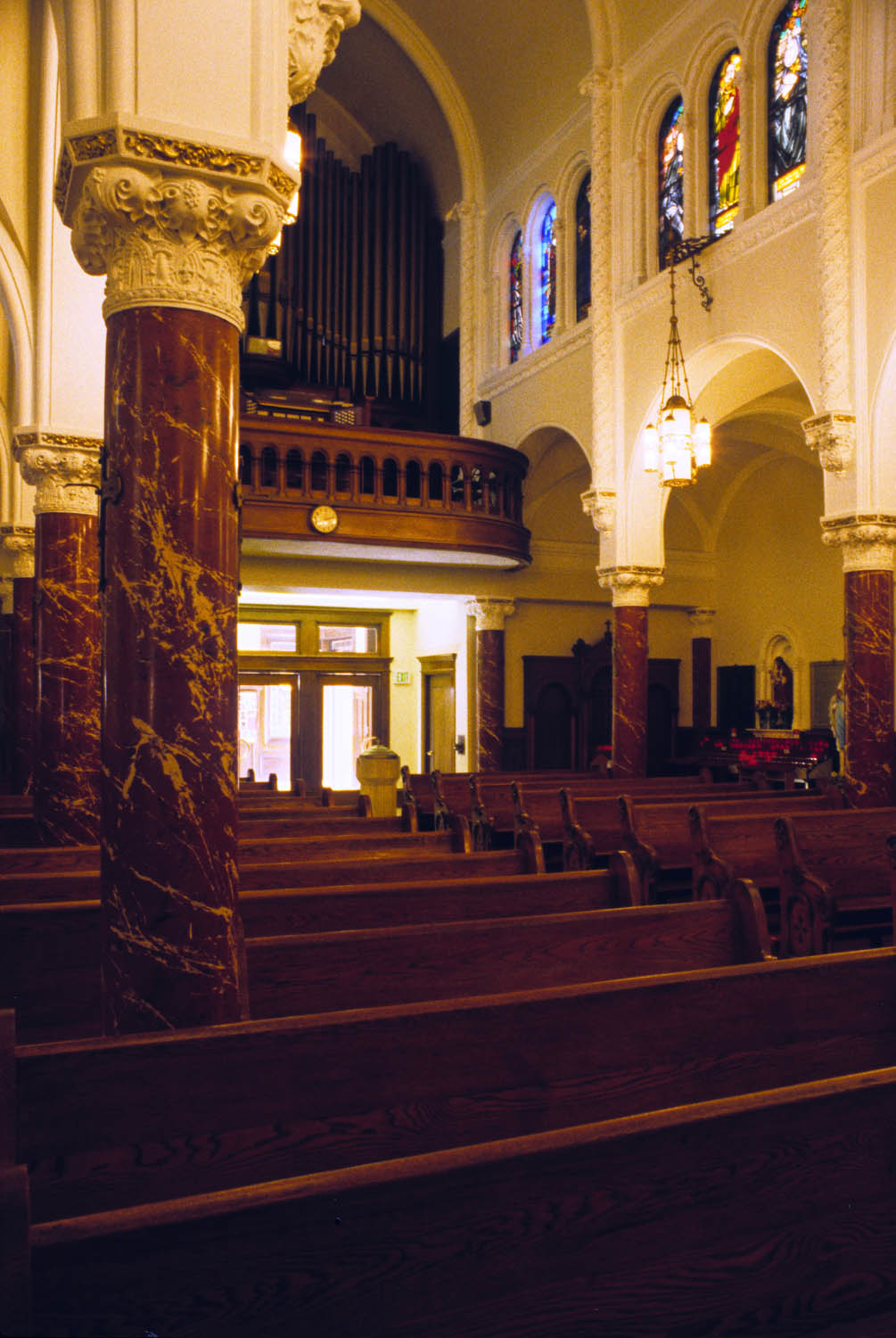 The original and valuable pipe organ had to be carefully protected during construction. The console and echo organs, close to the line of th e shear walls, had to be removed and re-installed. Parts of the instrument were upgraded, and the entire system was re-tuned.At the level of the nave, the entry was reworked to accommodate the new shear walls, behind which the elevator and elevator lobby on one side, and a reconciliation room on the other, are located.