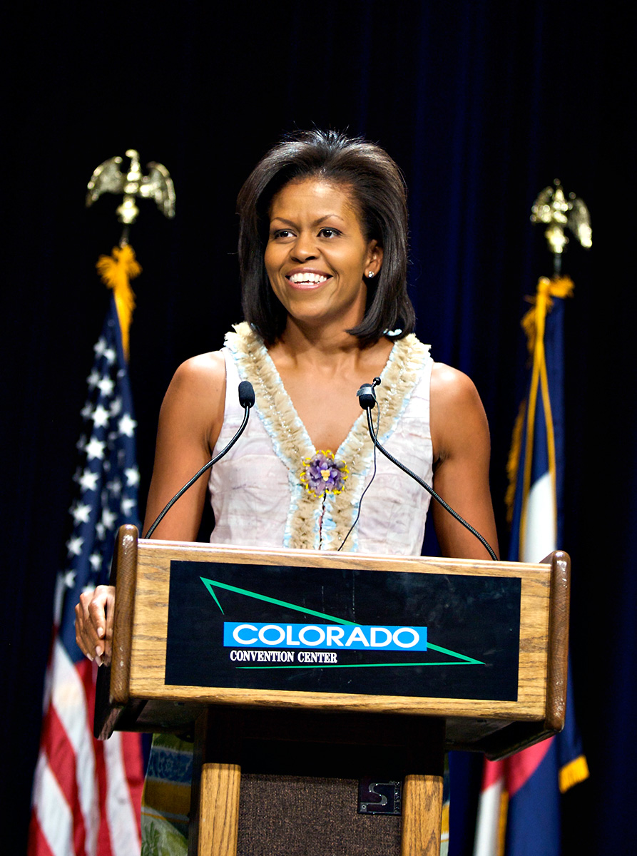 DENVER-AUGUST 27: Michelle Obama, wife of democratic presidential nominee Barack Obama, addresses the Congressional Black Caucus at the Denver Convention Center during the Democratic National Convention August 27, 2008. Senator Obama will become the first African-American candidate for president from a major political party this week. Michelle Obama's speeches have been recently geared to explaining her husband's upbringing and motivations to counter elitist perceptions of the candidate.