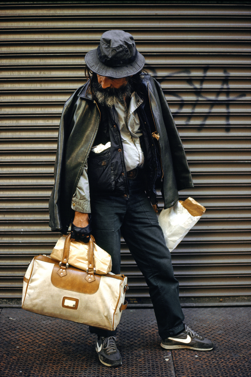 2000 - Homeless man with bags in New York City.