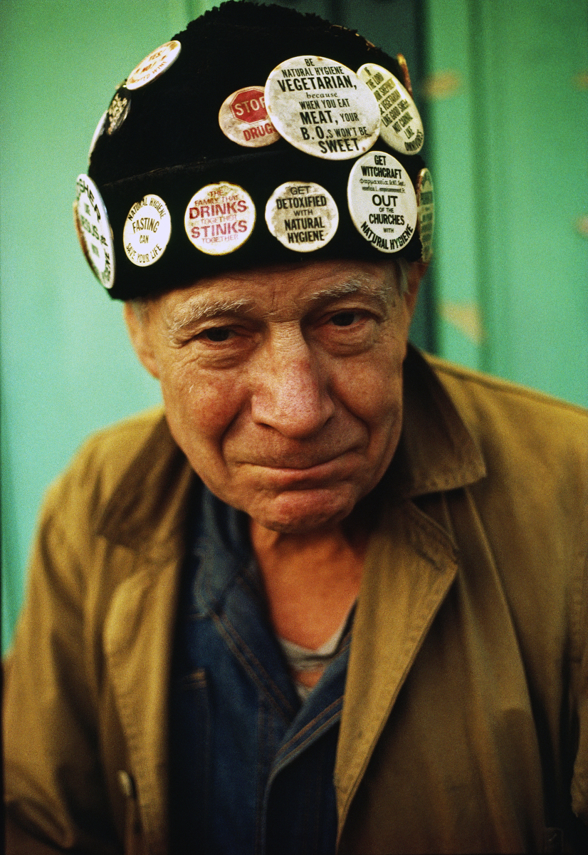 December 1987 - Homeless man with buttons on his hat.