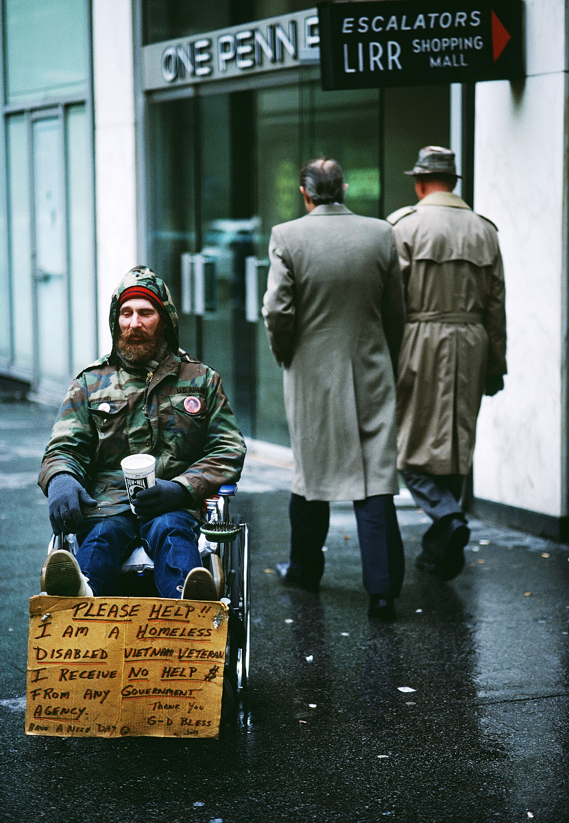 Homeless living on the streets of New York City.