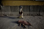 A handicapped child covered in a blanket lies on a road at the center of Kabul.