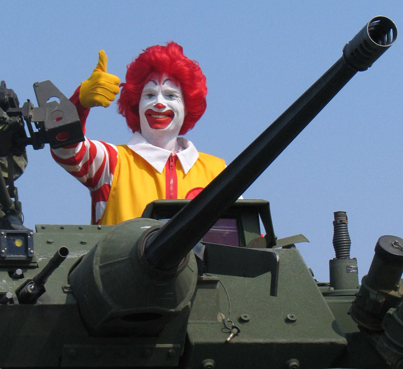 Ronald McDonald gives the thumbs up from the turret of a Lav 3 Armoured Personell Vehicle which was on display to celebrate Armed Forces day in Yellowknife, NWT, Canada.