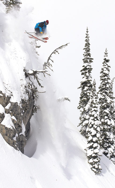 Jordan Sinnott drops in at Island Lake Lodge, Fernie, BC.