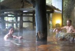 Aaron Whitfield and Reid McCord relax in the natural hot springs (onsen) in Kurokawa, Kyushu.
