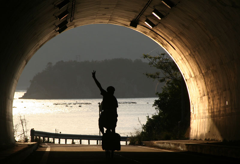 Reid McCord reaches the light at the end of the tunnel while riding on the island of Shikoku.