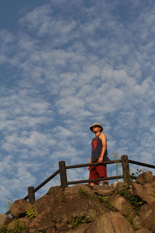 Reid McCord looks out from Sakurajima Island, the worlds most active volcano, near Kagoshima, Kyushu.