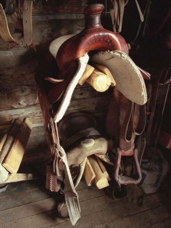 Saddles sit till the next ride in a well equiped tack room.