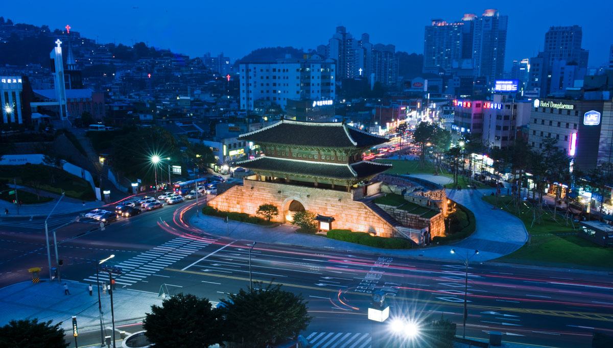 Dongdaemun means {quote}Great East Gate,{quote} so named because it was the major eastern gate in the wall that surrounded Seoul during the Joseon Dynasty. The gate was built by King Taejo in 1396, and was renovated in 1453 and 1869.