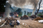 Bodies are cremated in the Buddhist tradition, two days after a huge 7.8-magnitude earthquake struck Nepal, and was felt as far as India and Pakistan.© Habitat for Humanity International/Ezra Millstein