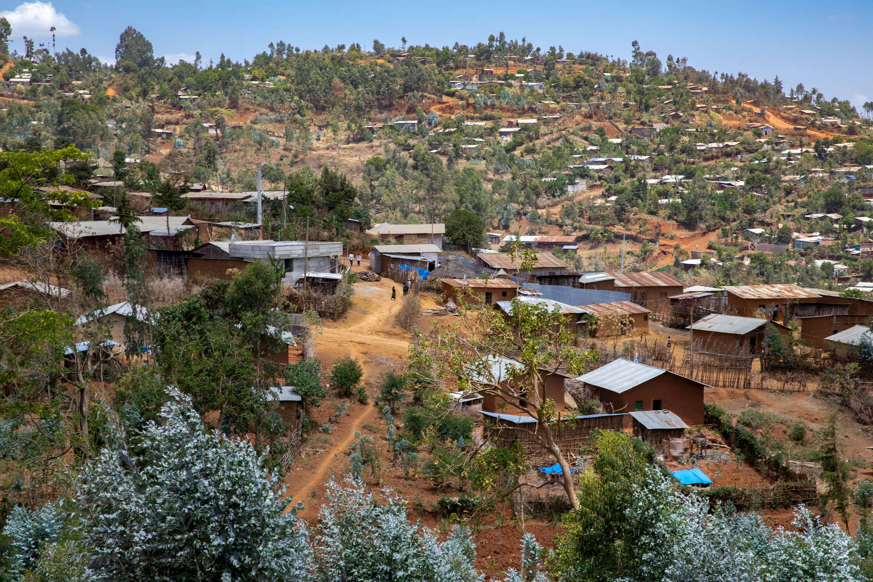 March 2019, Gidole, Ethiopia. The hillside town of Gidole. Through the PEG program, Mercy Corps is helping provide school materials for girls in Gidole and income-generating activities for their mothers.