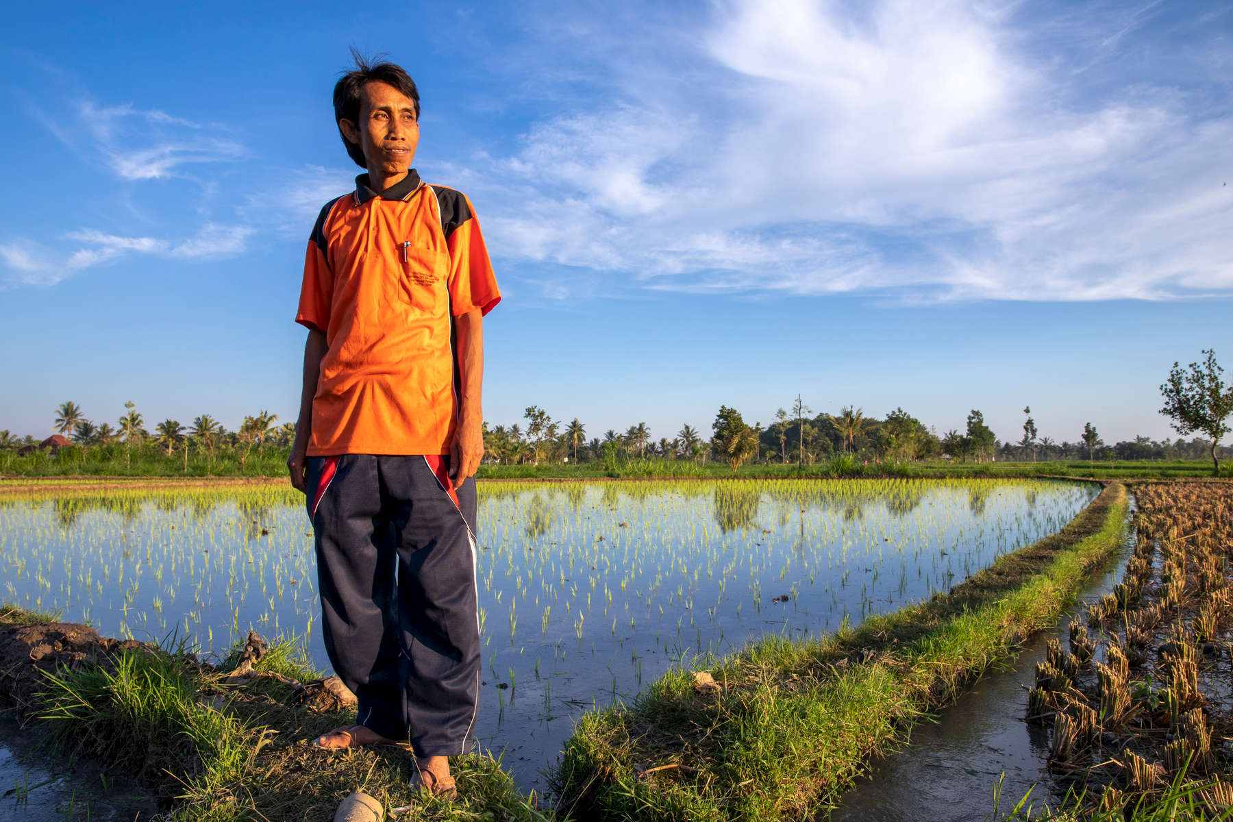 """Pak Sahwil, 42,  stands in his fields. He is a rice farmer on Lombok in eastern Indonesia. Mercy Corps is helping him and the 60 other farmers in his farmers group learn how to grow stronger, heartier crops in the face of worsening drought.Lombok is extremely vulnerable to climate change, with shorter rainy seasons and longer dry seasons that put precious harvests at risk.A lifelong farmer on Lombok—and the son of rice farmers—Pak Sahwil can recall the dry seasons as far back as 15 years. As he gets older, he worries about longer droughts causing harvest failure. """"Sometimes, climate change causes failure. What I feel the most is a long dry season,"""" he says.On Lombok, the dry season is now regularly starting a month earlier and lasting a month longer, leading to dangerous water shortages for farmers. """"I'm very worried. Not just for next year, but even for this year. Accessing water is becoming difficult,"""" Pak Sahwil says.Mercy Corps has helped Pak Sahwil and the farmers group he mentors endure drought with better farming practices and business training. """"Our objective as farmers is to increase our production. Because the Mercy Corps mission is the same as ours, we cooperate. This is a good opportunity, in my opinion,"""" he says.Mercy Corps trains farmers like Pak Sahwil to organize local farmers groups where farmers work together and support each other. They also learn to start agribusinesses to supplement their income.Pak Sahwil also works for the governmental agriculture agency. When he saw how Mercy Corps was improving local farmers, he extended the partnership to other districts. """"Because Mercy Corps is successful with my group, I share the knowledge with the group in this village,"""" he says."""