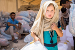 Muthana Raeed, 6, and her family went to an NFI distribution at the Jeddah IDP camp. Families fleeing the violence in Mosul are often unable to bring anything with them. In displacement camps, Mercy Corps is delivering essential supplies to help people survive. New arrival kits include: cooking pot and pan, plates, glasses, silverware, serving spoon, stainless steel kitchen knife, 6 light weight blankets, 1 rope, 1 tarp and 2 jerry cans. To provide one family with these household essentials costs approximately $70 USD / 60 Euro / 54 GBP.