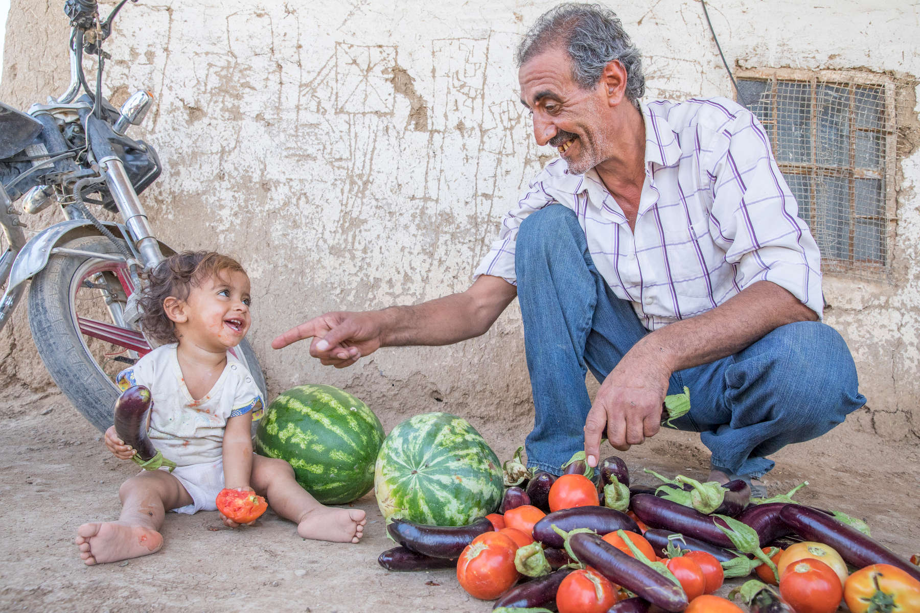 Abu Goubran with his granddaughter Wia, 1, and a pile of freshly harvested eggplant, tomatoes and watermelon. He does not own land, but has significant agricultural expertise thanks to a lifetime spent working in farming. Mercy Corps connected him to a landowner who was interested in benefiting from that expertise, and provided some resources to improve the farm, including building a greenhouse. Together, they have seen yields increase dramatically. The greenhouse generates 10 times the yield of the same area of land not under a greenhouse, Abu Goubran says. The use of greenhouses is not common in this area, so they were the first to be able to grow out of season vegetables. They use organic methods, with an apiary on site to pollinate the fields. They also open the farm to do training sessions for local farmers on innovative farming techniques.Between Abu Goubran, the landowner, the various laborers who work the fields and another partner who helps with purchasing supplies the farm directly supports four families. The village is home to another 400 families who benefit indirectly from reduced prices and a broader range of foods.