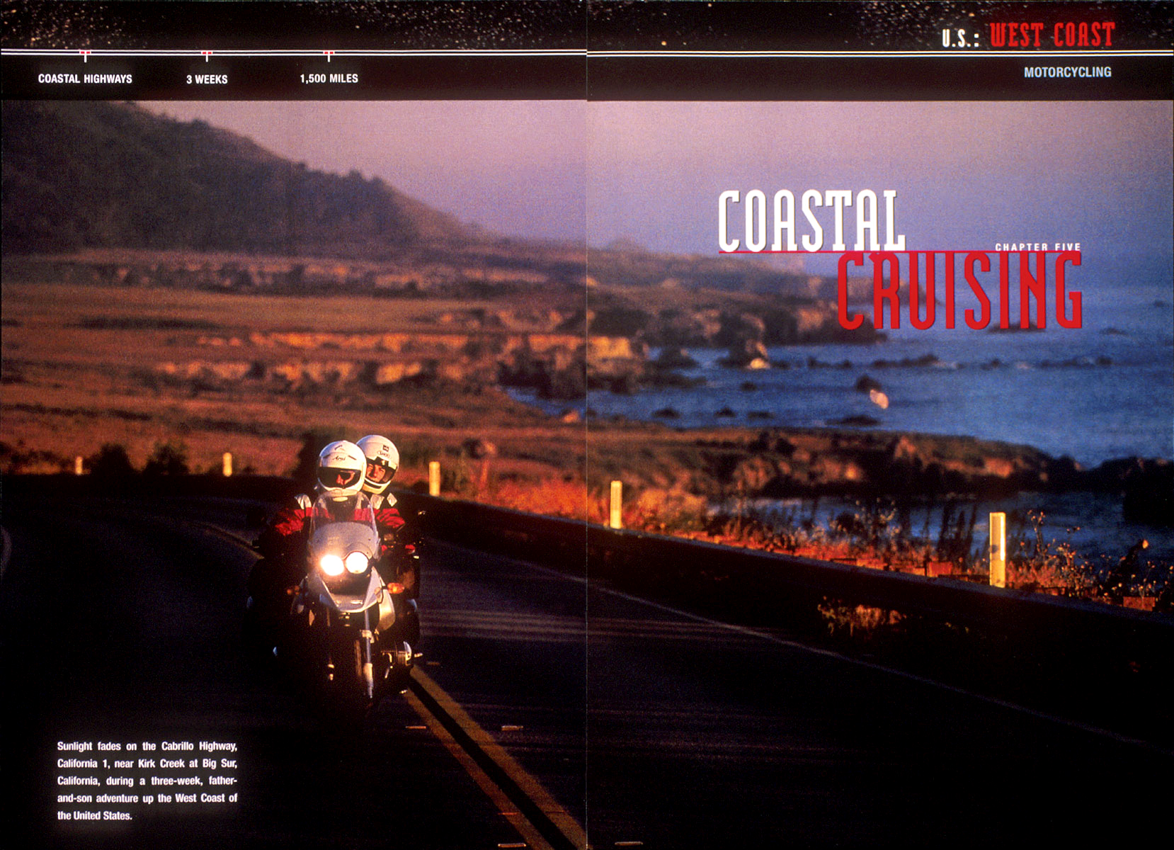 Motorcyclists cruising north on Highway 1 along the coast of California near Kirk Creek, Big Sur.  Photos part of a story on west coast adventures for National Geographic book, {quote}Adventure America.{quote}